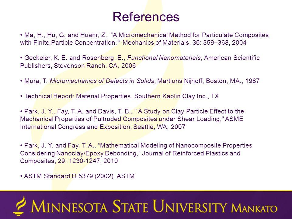 References Ma, H., Hu, G.