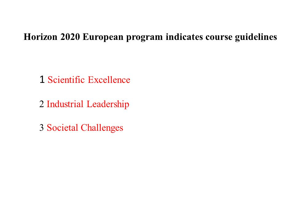 Horizon 2020 European program indicates course guidelines 1 Scientific Excellence 2 Industrial Leadership 3 Societal Challenges