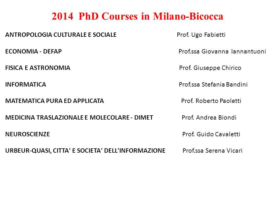 2014 PhD Courses in Milano-Bicocca ANTROPOLOGIA CULTURALE E SOCIALE Prof.