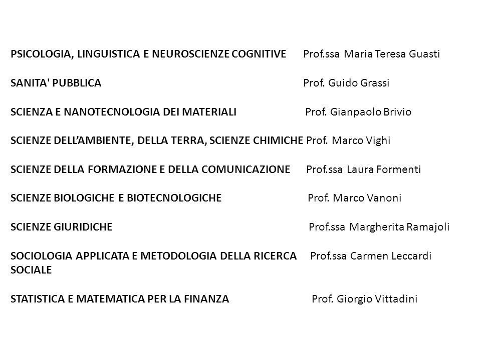 PSICOLOGIA, LINGUISTICA E NEUROSCIENZE COGNITIVE Prof.ssa Maria Teresa Guasti SANITA PUBBLICA Prof.