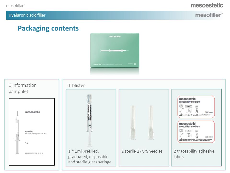 mesofiller Hyaluronic acid filler Packaging contents 1 * 1ml prefilled, graduated, disposable and sterile glass syringe 1 information pamphlet 1 blist