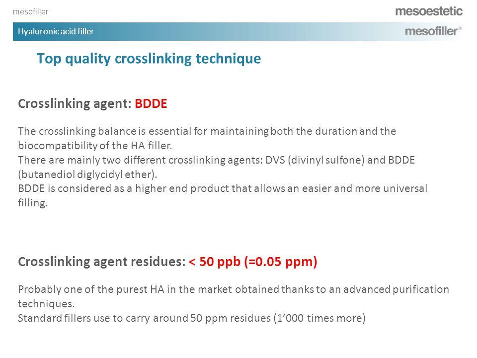 mesofiller Hyaluronic acid filler Top quality crosslinking technique Crosslinking agent: BDDE The crosslinking balance is essential for maintaining bo