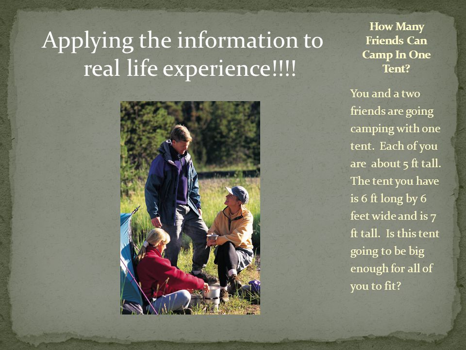 Applying the information to real life experience!!!.