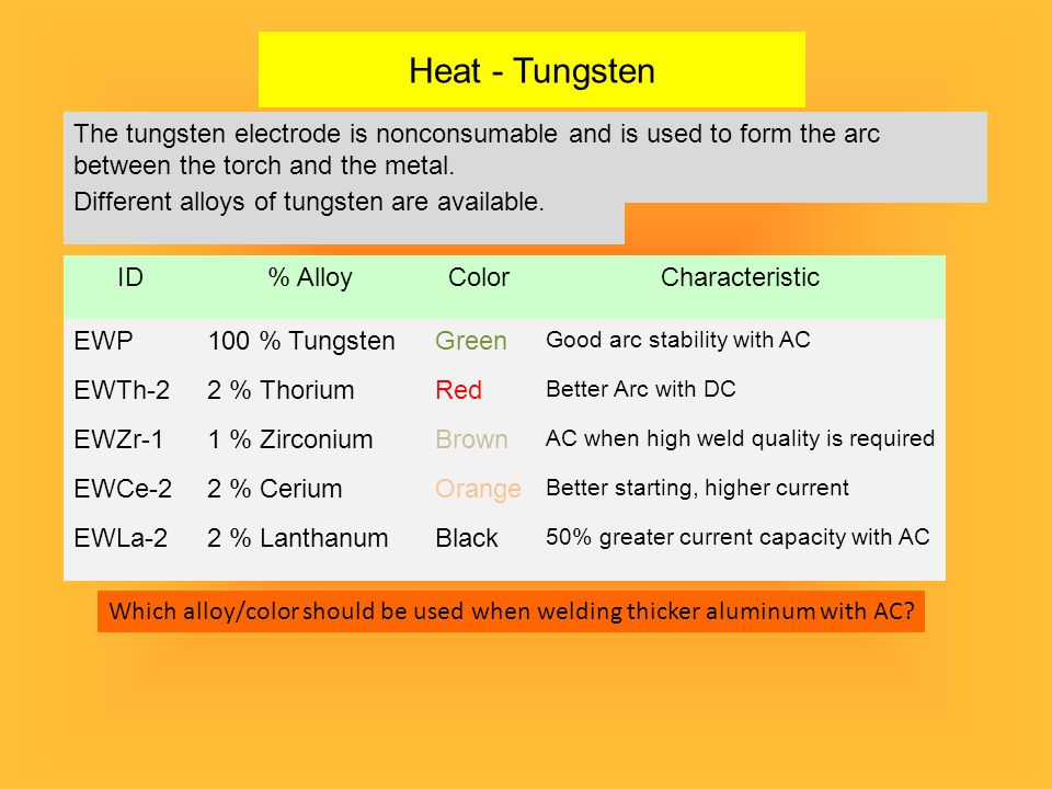 Heat - Tungsten The tungsten electrode is nonconsumable and is used to form the arc between the torch and the metal. Different alloys of tungsten are