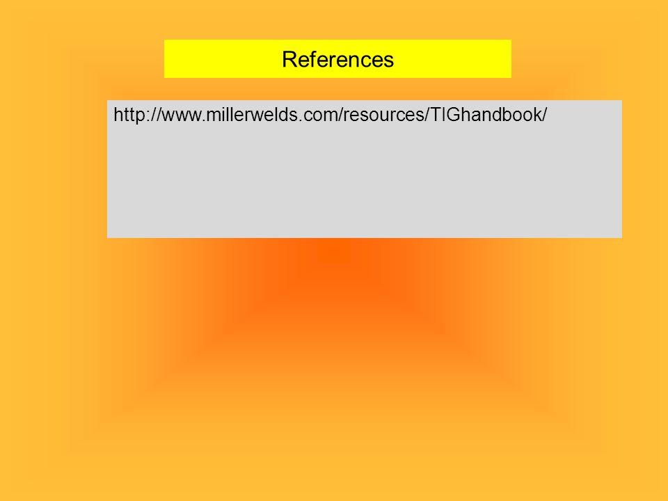 References http://www.millerwelds.com/resources/TIGhandbook/