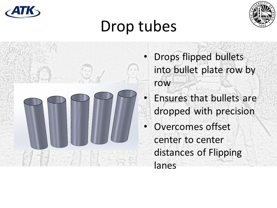 Drop tubes Drops flipped bullets into bullet plate row by row Ensures that bullets are dropped with precision Overcomes offset center to center distances of Flipping lanes