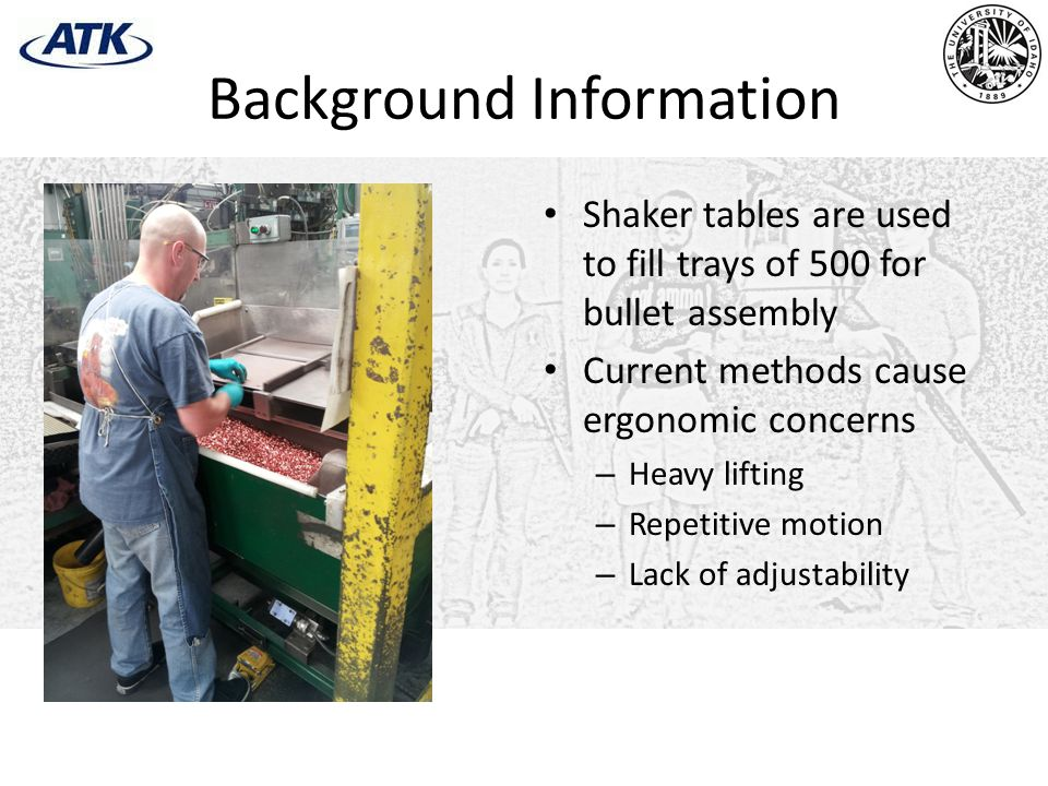 Background Information Shaker tables are used to fill trays of 500 for bullet assembly Current methods cause ergonomic concerns – Heavy lifting – Repetitive motion – Lack of adjustability