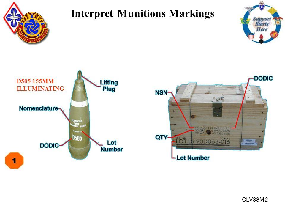 CLV88M 2 Interpret Munitions Markings D505 155MM ILLUMINATING
