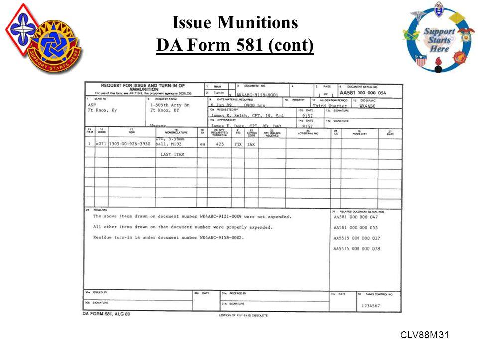 CLV88M 31 Issue Munitions DA Form 581 (cont)