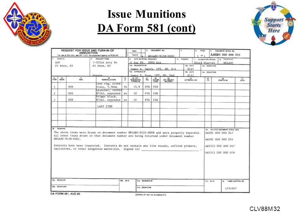 CLV88M 32 Issue Munitions DA Form 581 (cont)