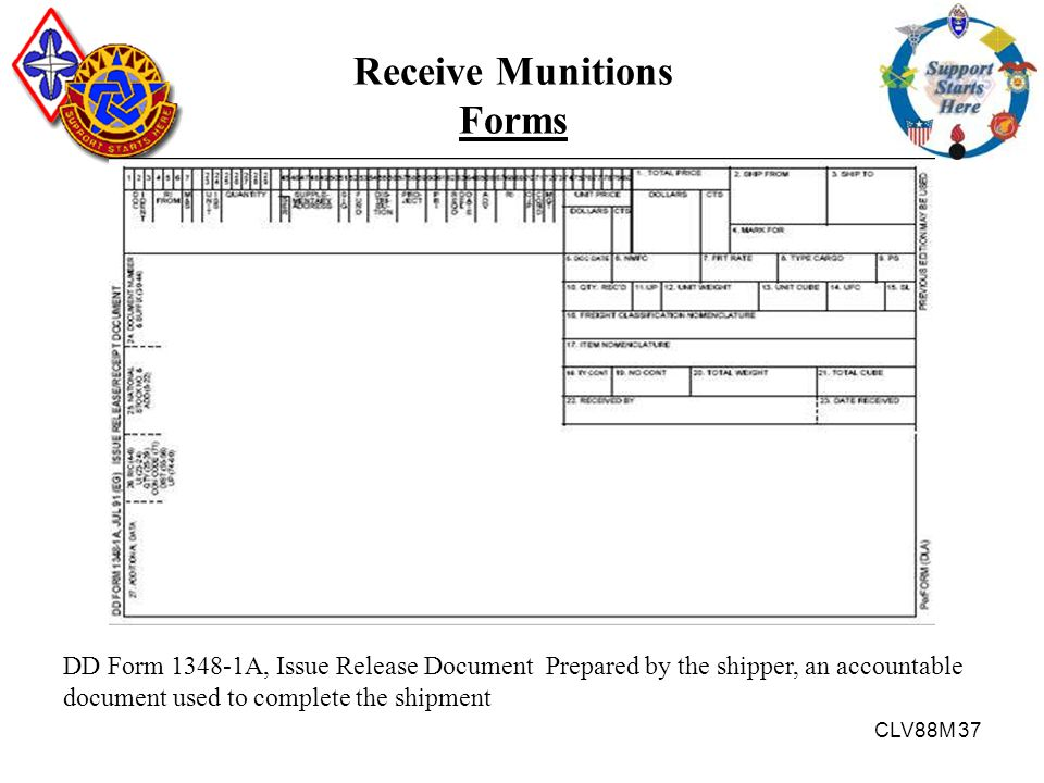 CLV88M 37 DD Form 1348-1A, Issue Release Document Prepared by the shipper, an accountable document used to complete the shipment Receive Munitions For