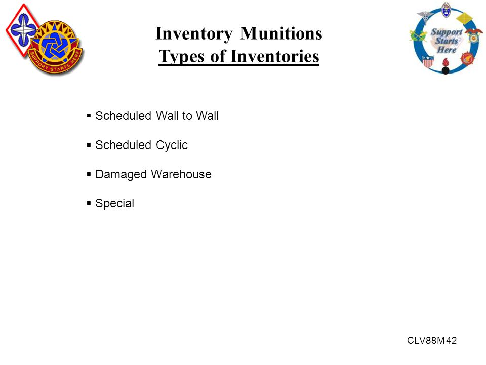 CLV88M 42 Inventory Munitions Types of Inventories  Scheduled Wall to Wall  Scheduled Cyclic  Damaged Warehouse  Special