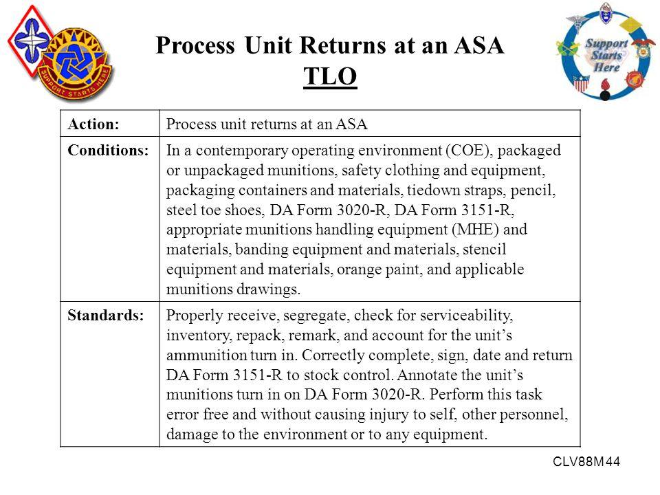 CLV88M 44 Process Unit Returns at an ASA TLO Action:Process unit returns at an ASA Conditions:In a contemporary operating environment (COE), packaged