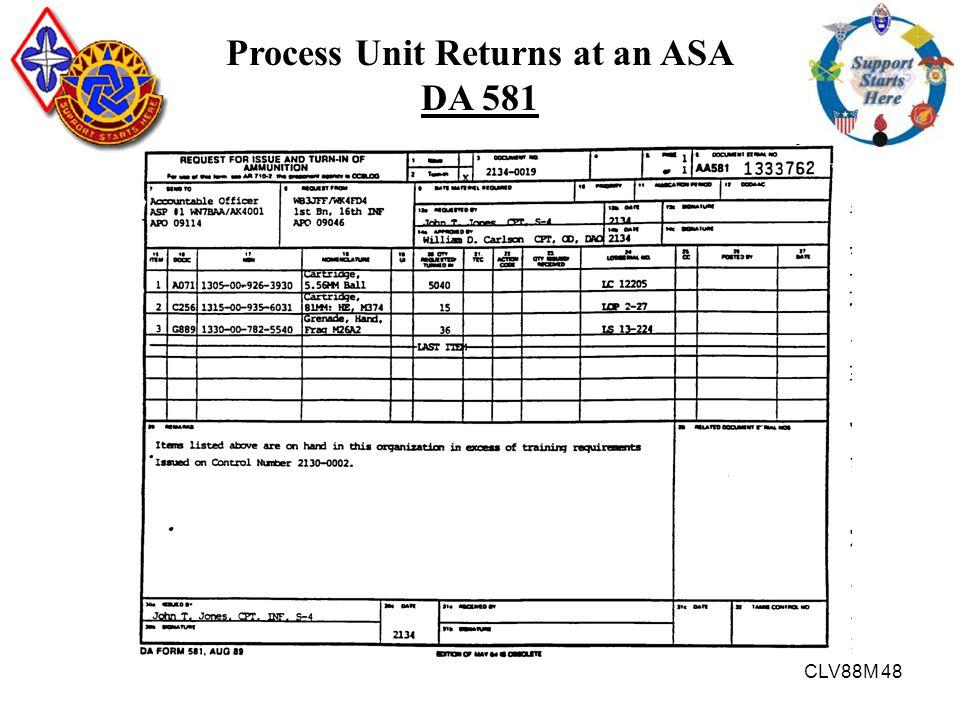 CLV88M 48 Process Unit Returns at an ASA DA 581