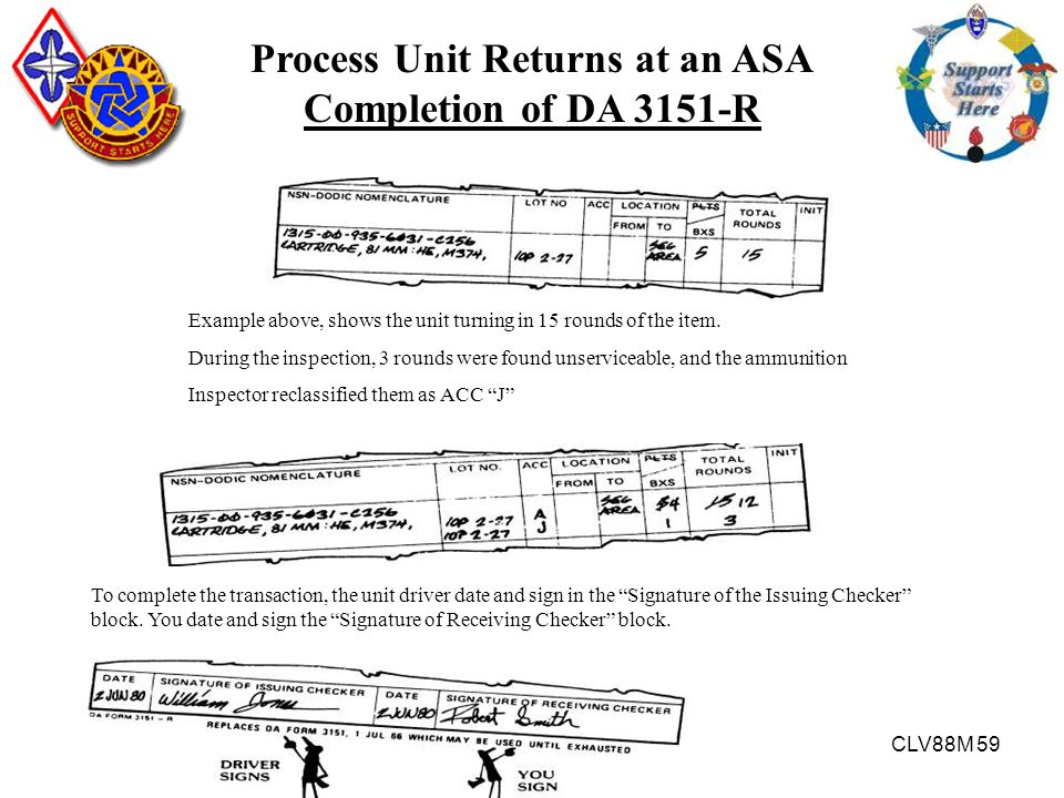 CLV88M 59 Process Unit Returns at an ASA Completion of DA 3151-R Example above, shows the unit turning in 15 rounds of the item. During the inspection