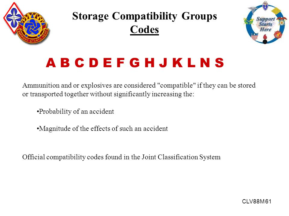 CLV88M 61 Storage Compatibility Groups Codes A B C D E F G H J K L N S Ammunition and or explosives are considered