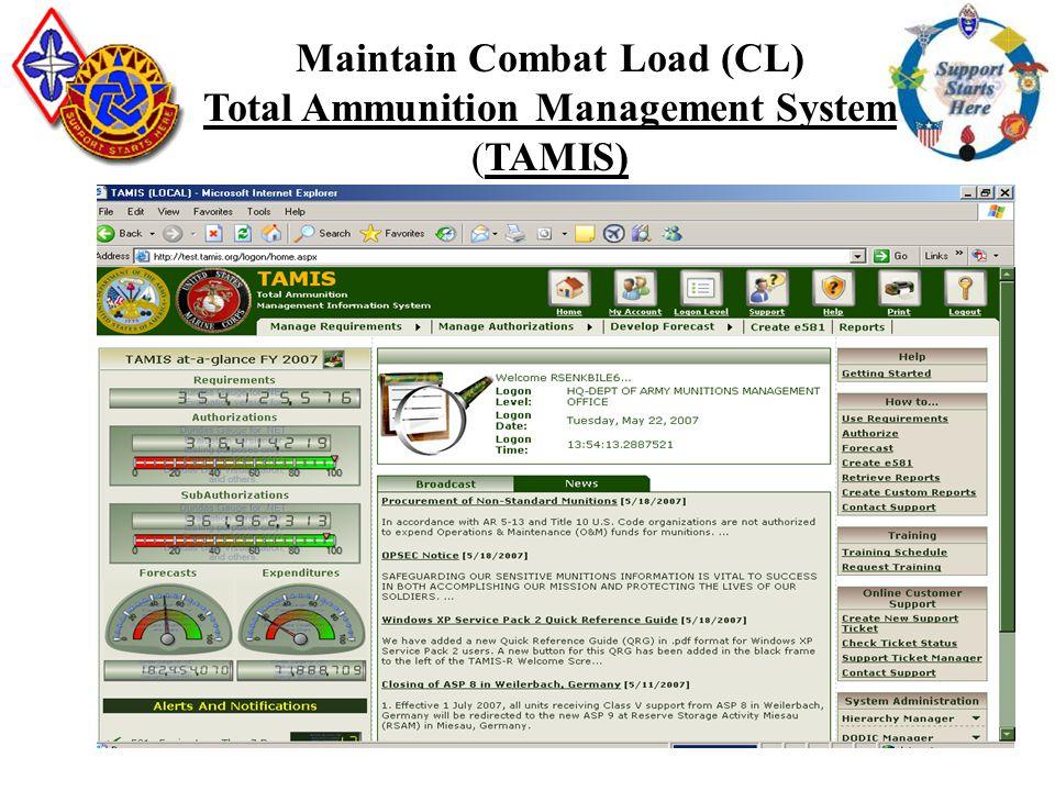 CLV88M 75 Maintain Combat Load (CL) Total Ammunition Management System (TAMIS)