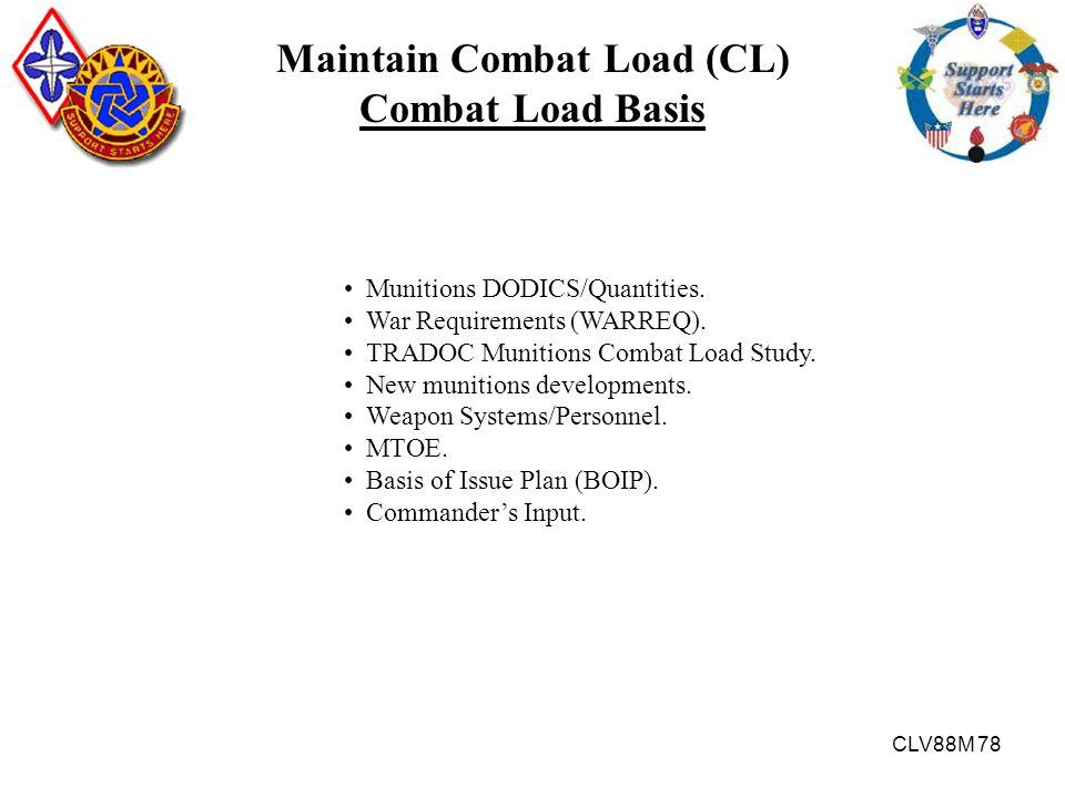CLV88M 78 Maintain Combat Load (CL) Combat Load Basis Munitions DODICS/Quantities. War Requirements (WARREQ). TRADOC Munitions Combat Load Study. New