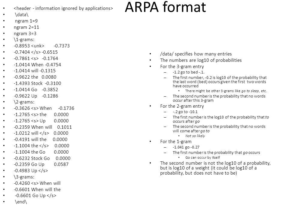 ARPA format \data\ ngram 1=9 ngram 2=11 ngram 3=3 \1-grams: -0.8953 -0.7373 -0.7404 -0.6515 -0.7861 -0.1764 -1.0414 When -0.4754 -1.0414 will -0.1315