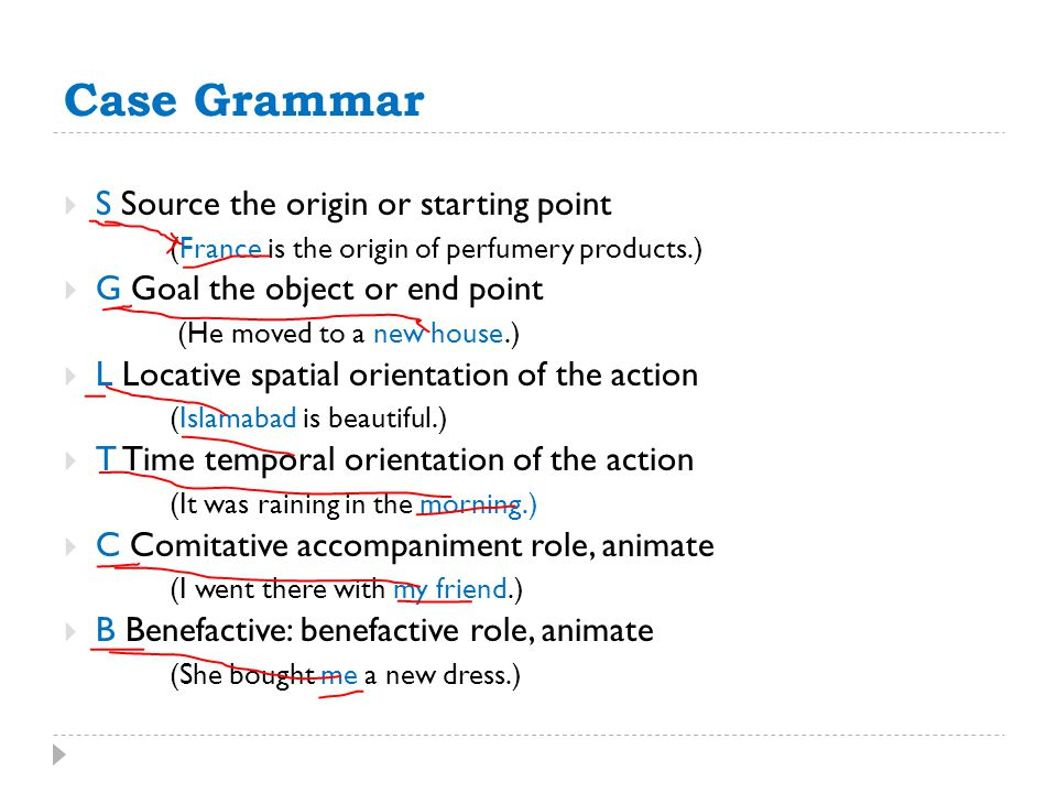 Case Grammar  S Source the origin or starting point (France is the origin of perfumery products.)  G Goal the object or end point (He moved to a new