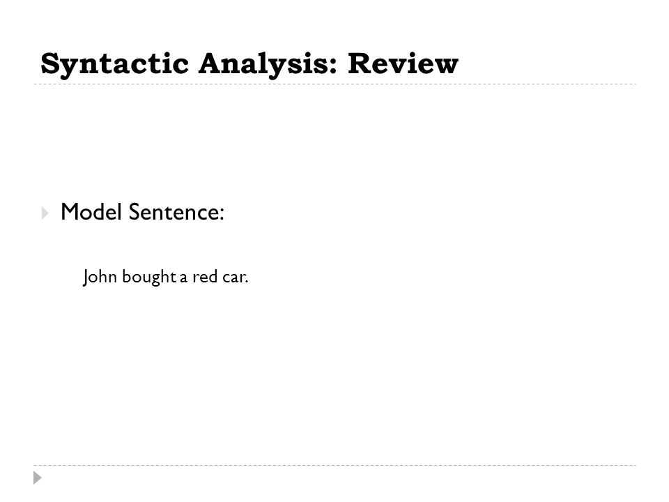 Syntactic Analysis: Review  Model Sentence: John bought a red car.