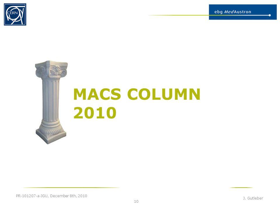 MACS COLUMN 2010 PR-101207-a-JGU, December 8th, 2010 J. Gutleber 10