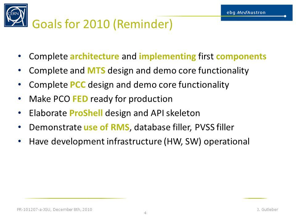 Goals for 2010 (Reminder) PR-101207-a-JGU, December 8th, 2010 J.
