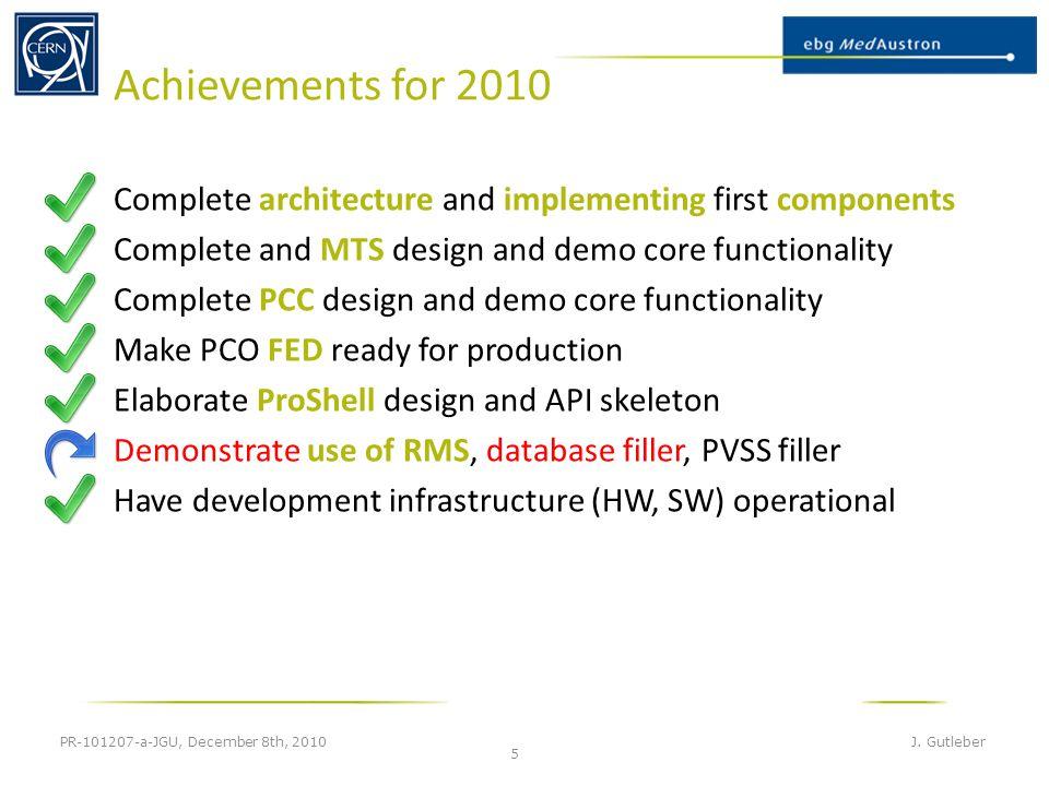 Achievements for 2010 PR-101207-a-JGU, December 8th, 2010 J.