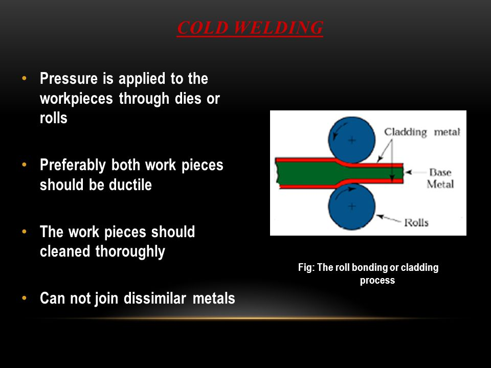 ROLL WELDING (ROW) SSW process in which pressure sufficient to cause coalescence is applied by means of rolls, either with or without external heat Variation of either forge welding or cold welding, depending on whether heating of workparts is done prior to process If no external heat, called cold roll welding If heat is supplied, hot roll welding