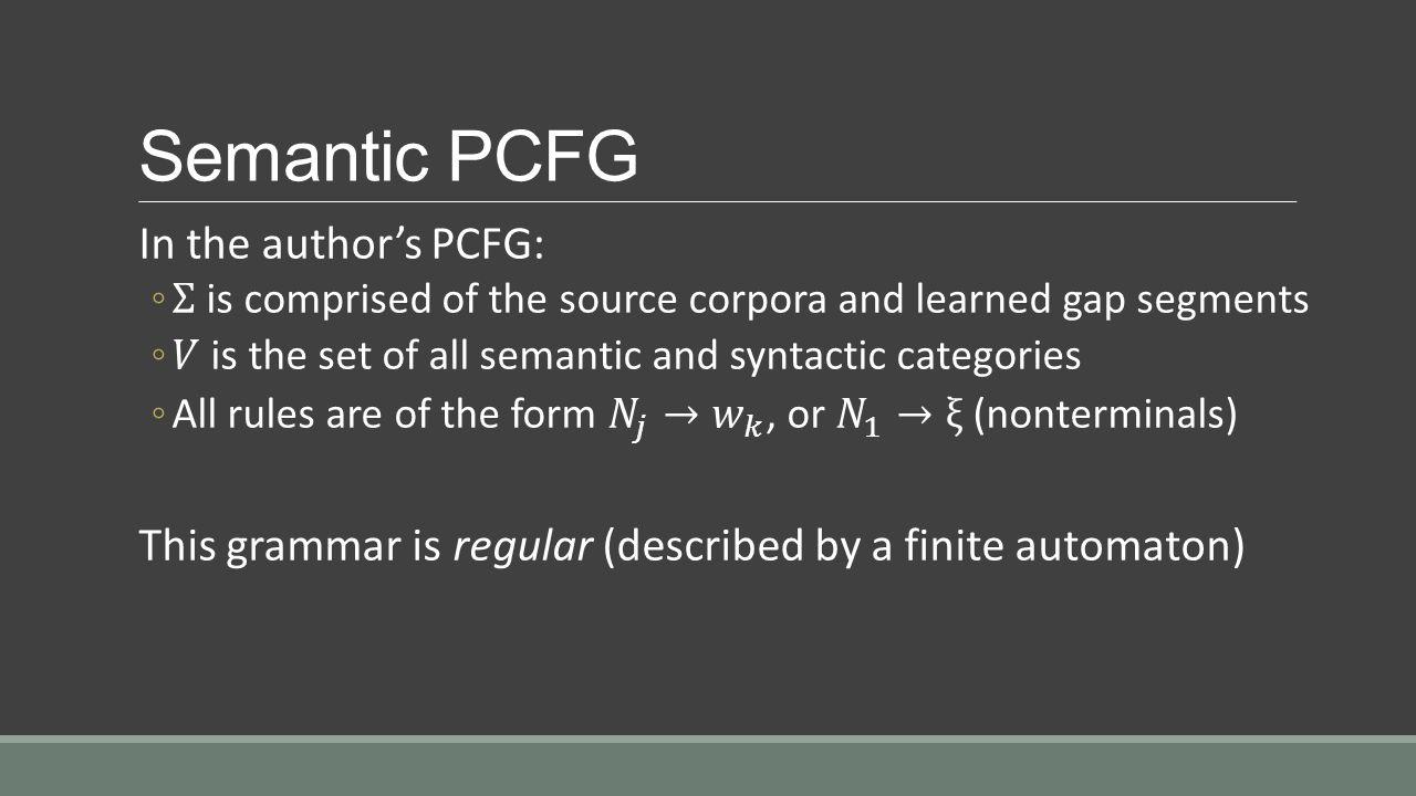 Semantic PCFG