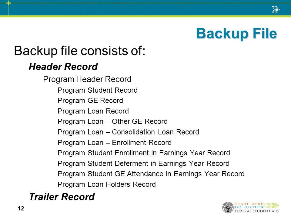 Backup File Backup file consists of: Header Record Program Header Record Program Student Record Program GE Record Program Loan Record Program Loan – O