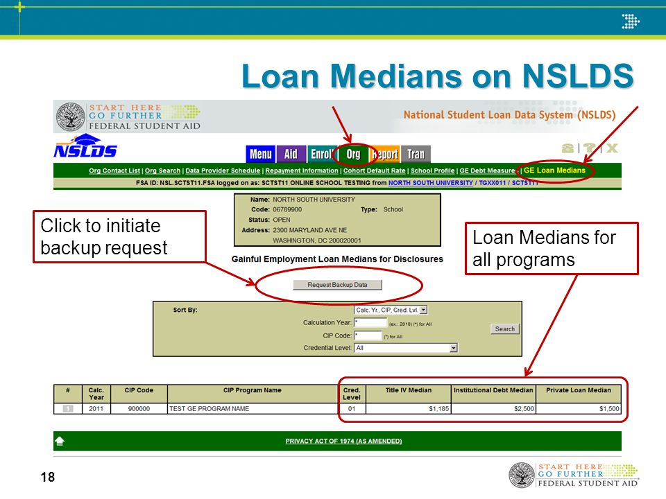 Loan Medians on NSLDS 18 Loan Medians for all programs Click to initiate backup request