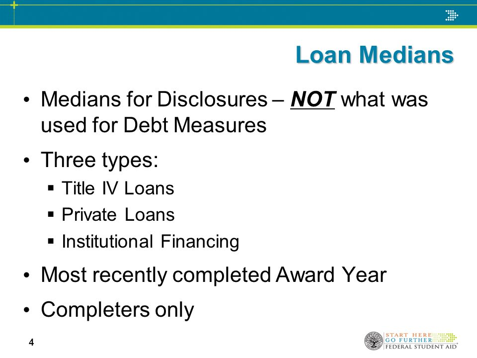 Loan Medians Medians for Disclosures – NOT what was used for Debt Measures Three types:  Title IV Loans  Private Loans  Institutional Financing Mos