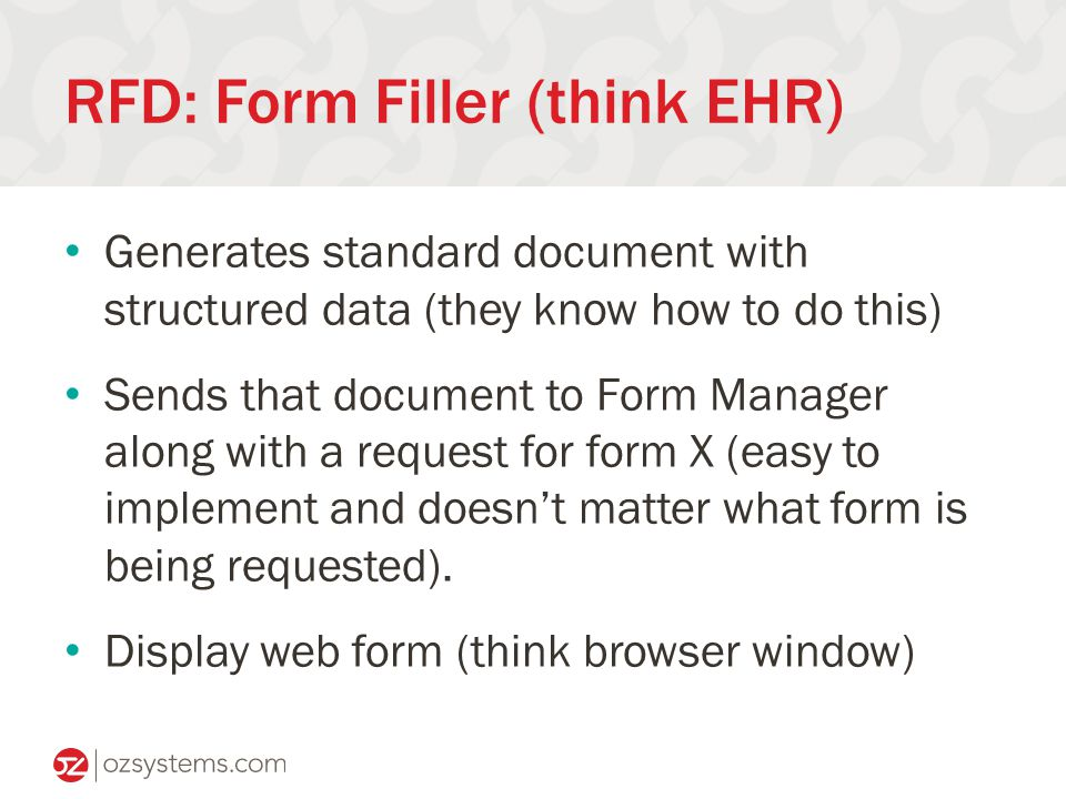 RFD: Form Filler (think EHR) Generates standard document with structured data (they know how to do this) Sends that document to Form Manager along with a request for form X (easy to implement and doesn't matter what form is being requested).