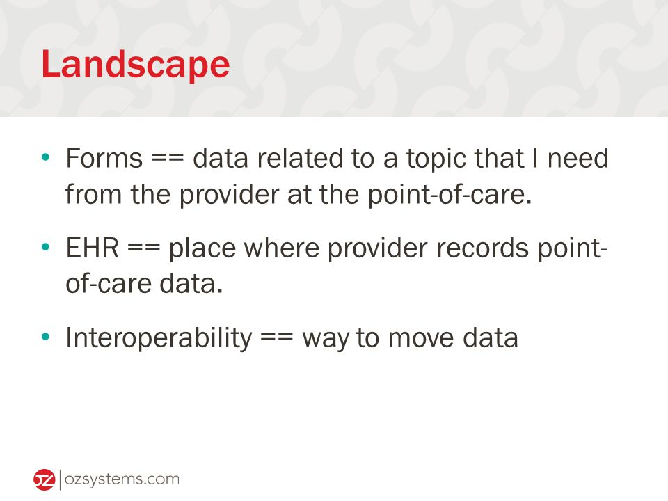 Landscape Forms == data related to a topic that I need from the provider at the point-of-care.