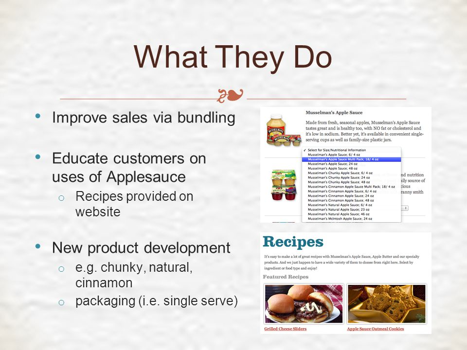 ❧ What They Do Improve sales via bundling Educate customers on uses of Applesauce o Recipes provided on website New product development o e.g.