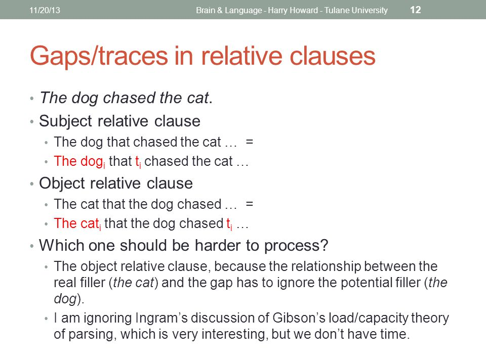 Gaps/traces in relative clauses The dog chased the cat.