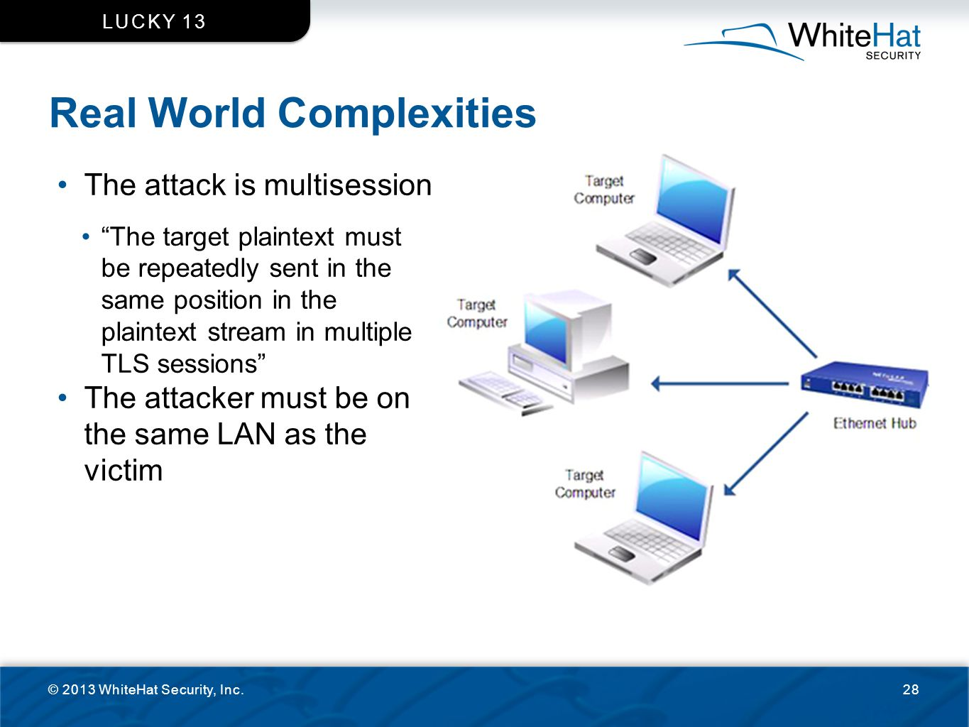 """Real World Complexities © 2013 WhiteHat Security, Inc.28 LUCKY 13 The attack is multisession """"The target plaintext must be repeatedly sent in the same"""