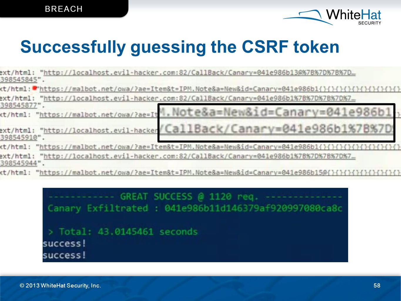 Successfully guessing the CSRF token © 2013 WhiteHat Security, Inc.58 BREACH