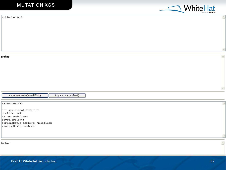 © 2013 WhiteHat Security, Inc.69 MUTATION XSS