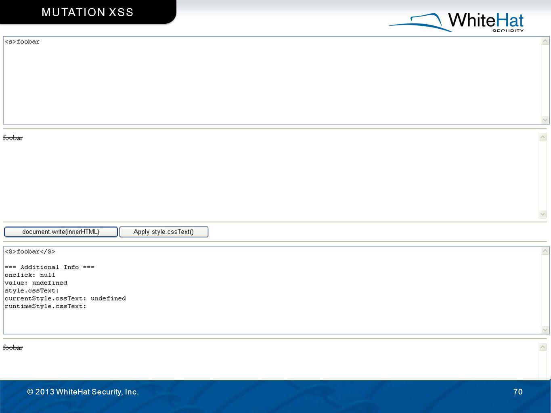 © 2013 WhiteHat Security, Inc.70 MUTATION XSS