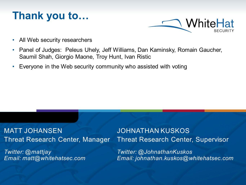All Web security researchers Panel of Judges: Peleus Uhely, Jeff Williams, Dan Kaminsky, Romain Gaucher, Saumil Shah, Giorgio Maone, Troy Hunt, Ivan R