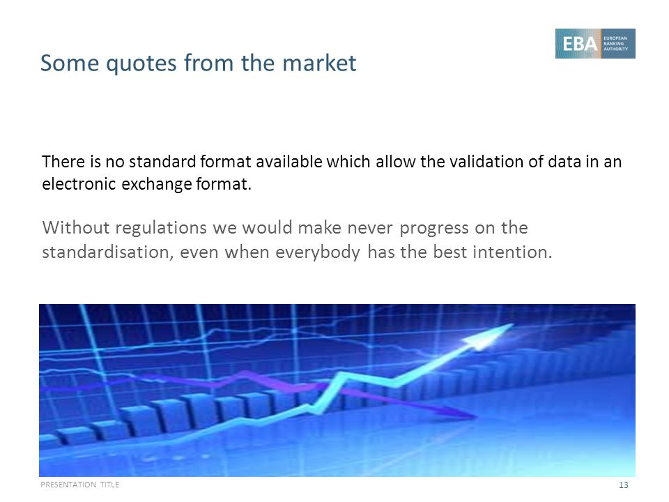 Some quotes from the market PRESENTATION TITLE 13 There is no standard format available which allow the validation of data in an electronic exchange f