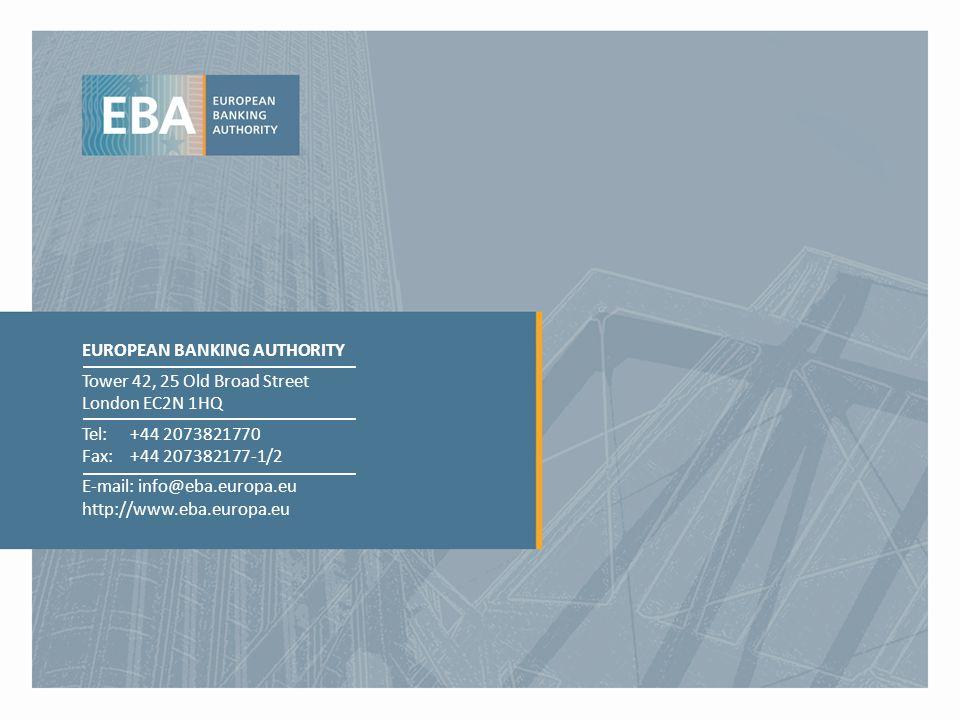 EUROPEAN BANKING AUTHORITY Tower 42, 25 Old Broad Street London EC2N 1HQ Tel: +44 2073821770 Fax:+44 207382177-1/2 E-mail: info@eba.europa.eu http://w