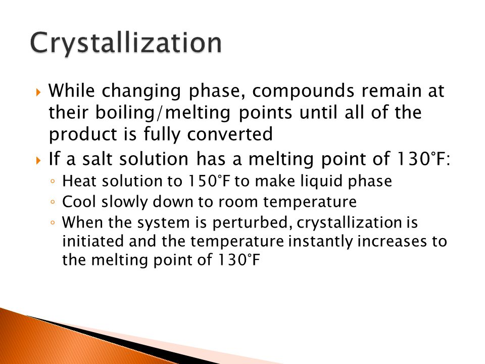  While changing phase, compounds remain at their boiling/melting points until all of the product is fully converted  If a salt solution has a meltin