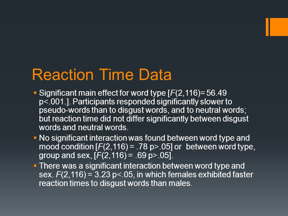 Reaction Time Data  Significant main effect for word type [F(2,116)= 56.49 p<.001.].
