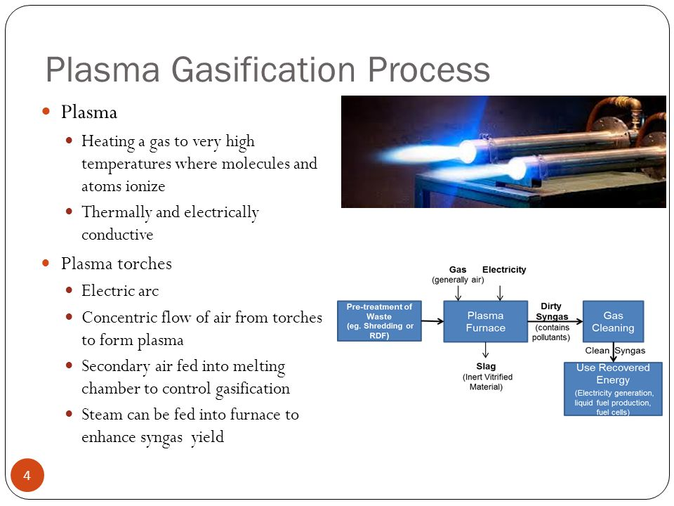 Plasma Gasification Process 4 Plasma Heating a gas to very high temperatures where molecules and atoms ionize Thermally and electrically conductive Pl