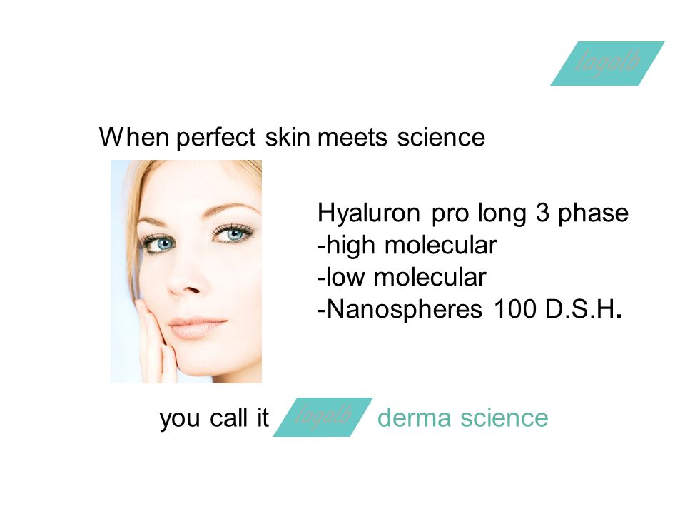 When perfect skinmeets science Hyaluron pro long 3 phase -high molecular -low molecular -Nanospheres 100 D.S.H.