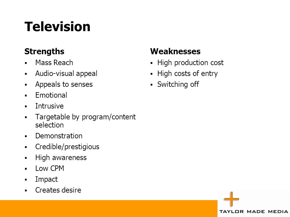 Television Strengths  Mass Reach  Audio-visual appeal  Appeals to senses  Emotional  Intrusive  Targetable by program/content selection  Demons