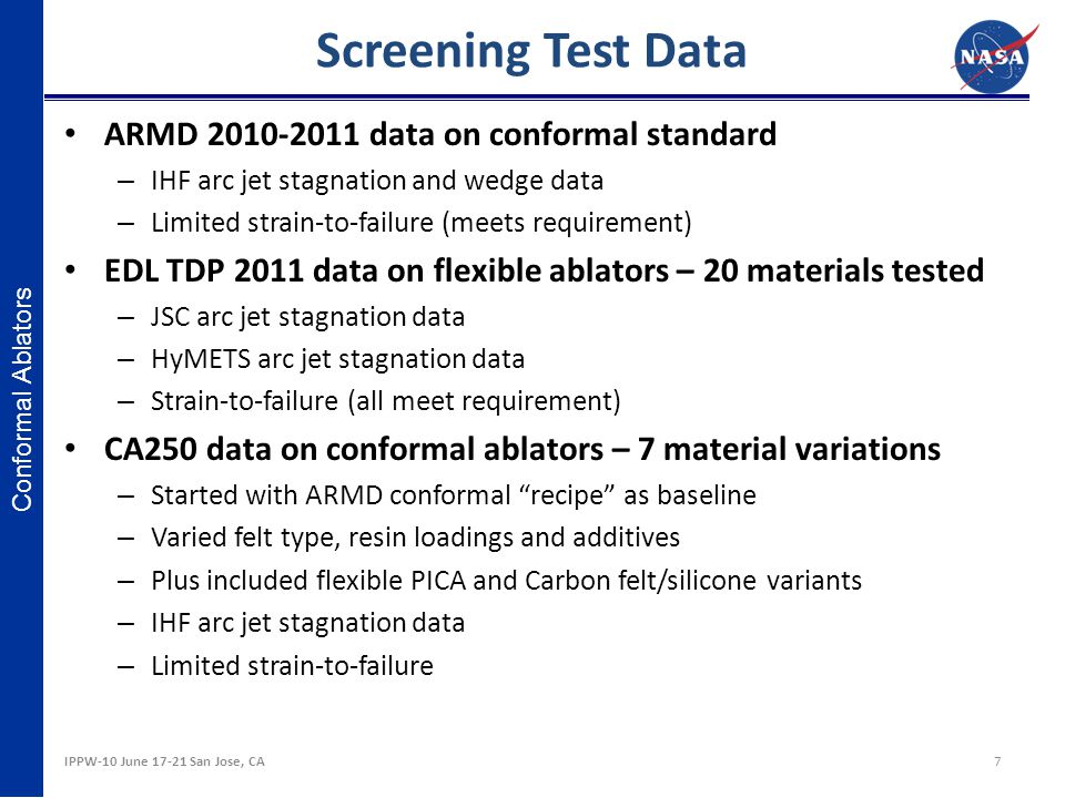 Conformal Ablators Screening Test Data ARMD 2010-2011 data on conformal standard – IHF arc jet stagnation and wedge data – Limited strain-to-failure (